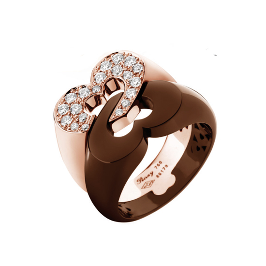 or rose pavee ceramique chocolat Poiray bague