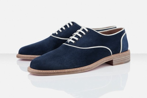 Derby Louboutin homme 2012 marine havane couture blanche